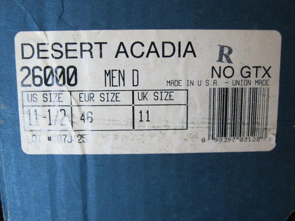 Берцы Danner Desert Acadia 26000 - ярлык с размерами.